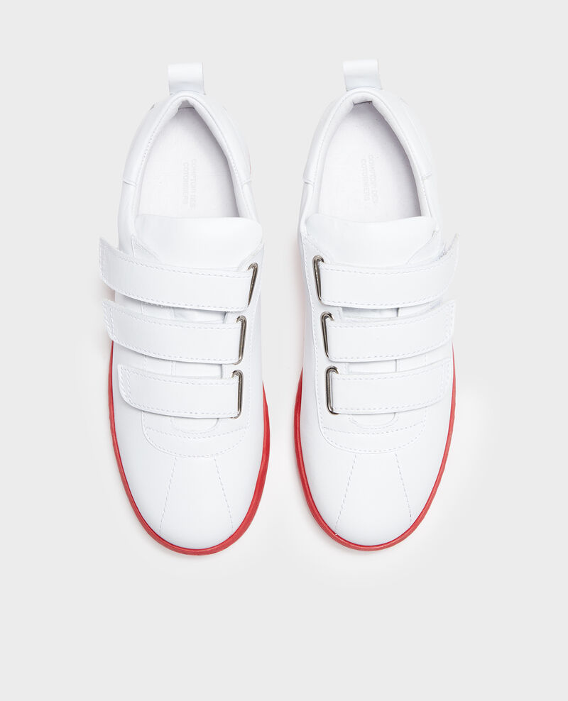 Leather rip tape sneakers White fiery red Leader