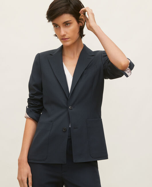Lightweight smooth wool blazer DARK NAVY
