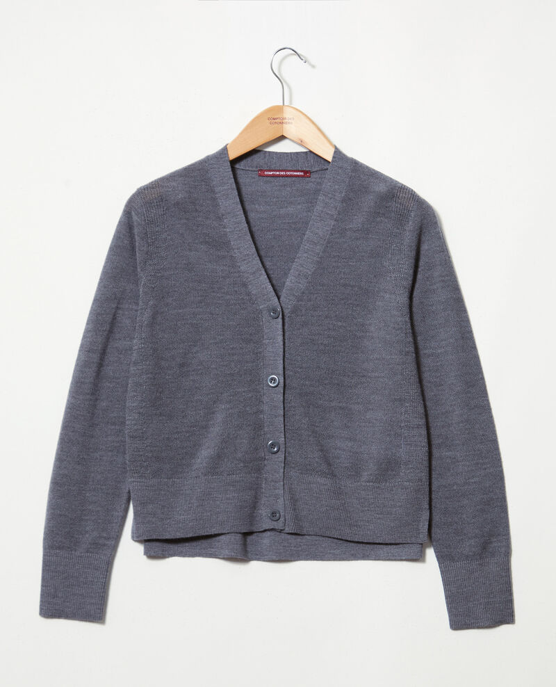 Wool cardigan Dark heather grey 9idada