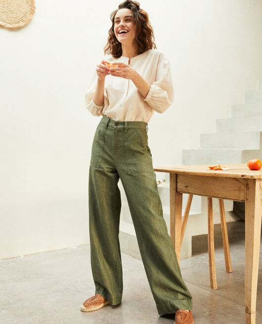 Linen blend trousers CHENG OLIVE