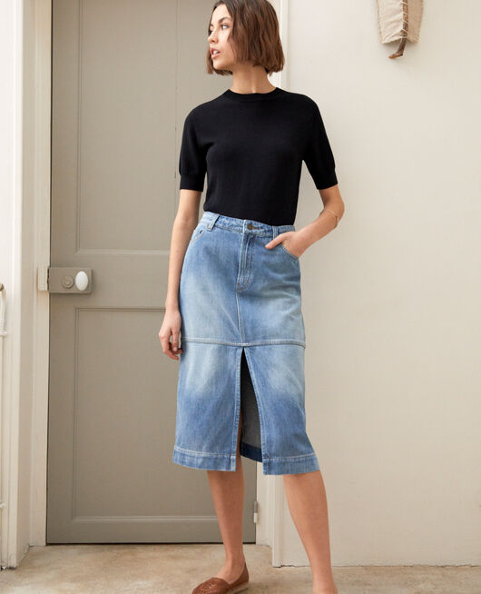 Denim skirt LIGHT WASH