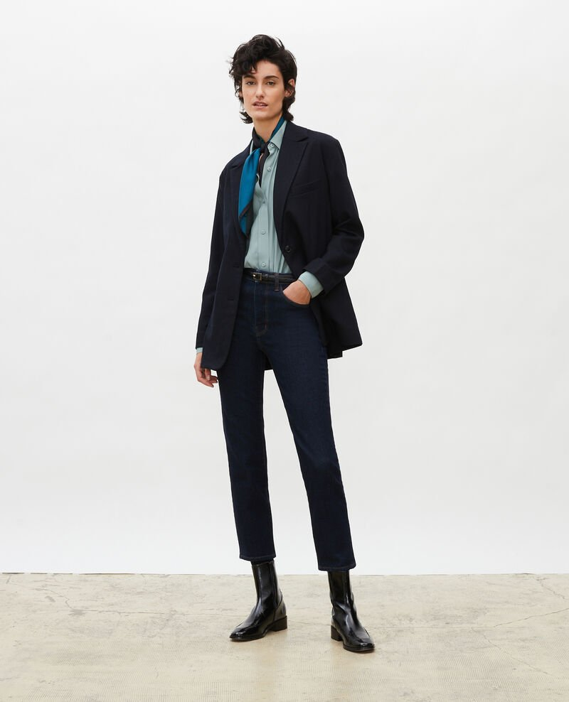 Straight-cut wool blazer Night sky Mabla
