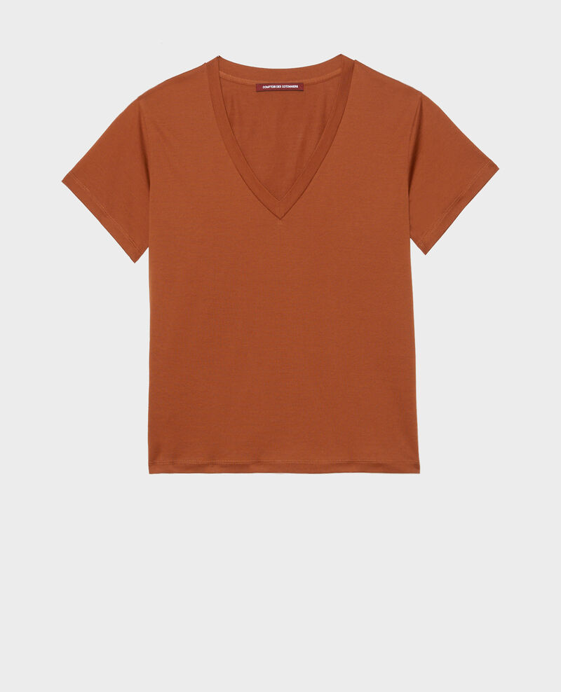 V-neck cotton t-shirt Tortoise shell Laberne