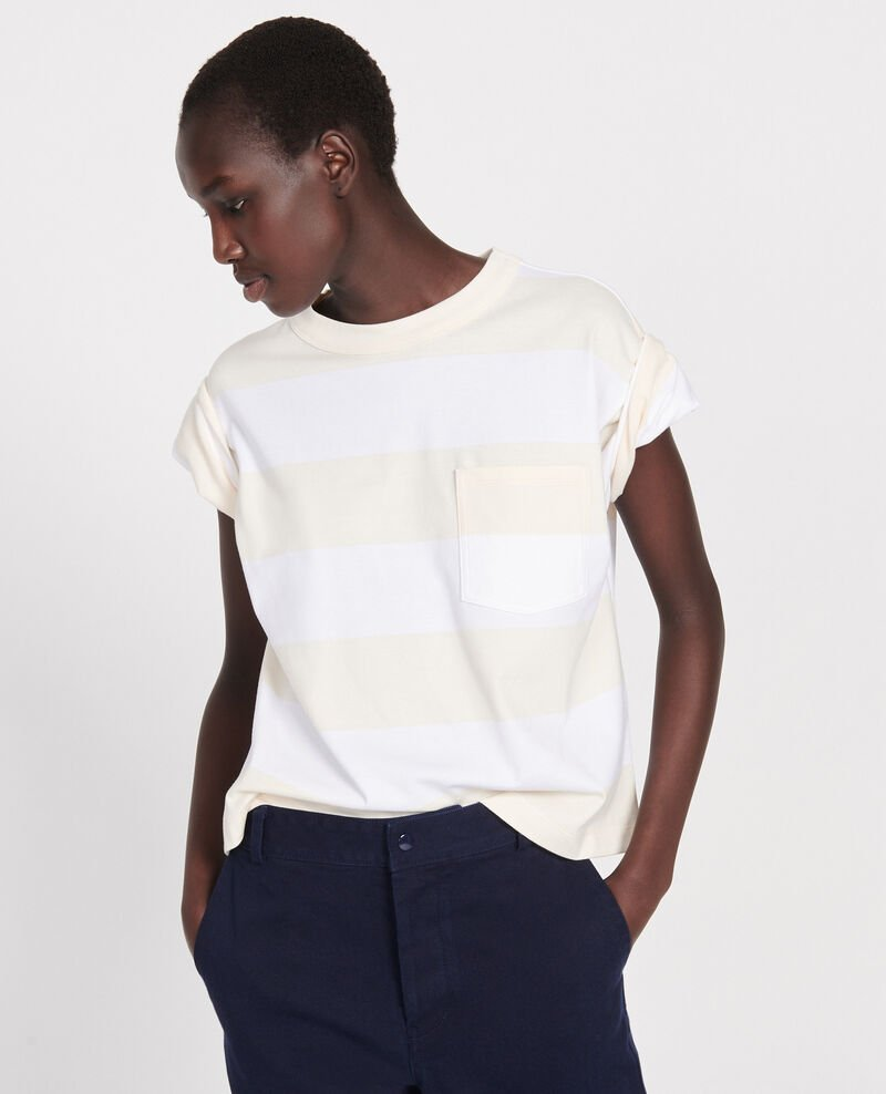 Mercerised cotton oversize striped t-shirt Str opticalwhite butter Lord