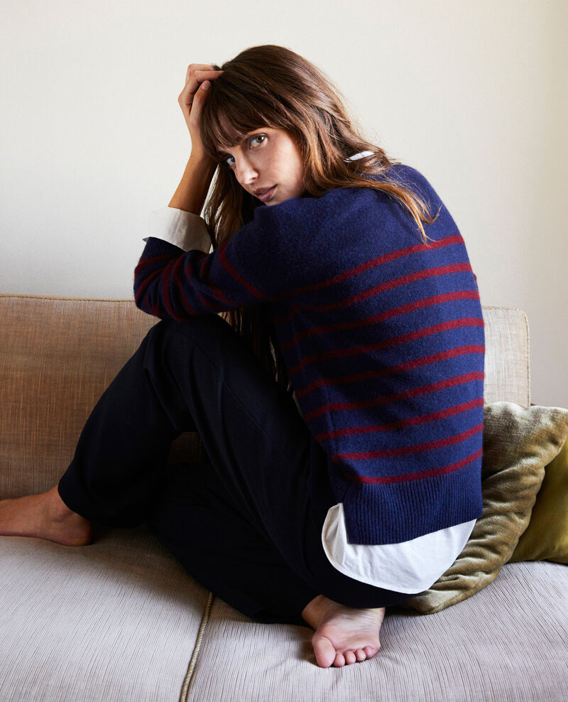 100% Striped cashmere jumper Evening/cabernet Jolimer