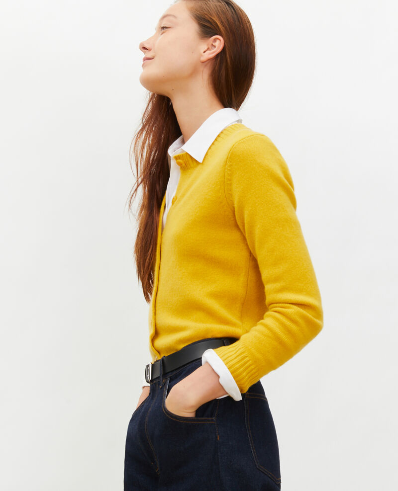 Round neck cashmere cardigan Lemon curry Marolle