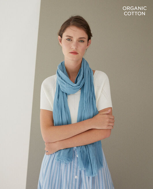 Organic cotton scarf Blue