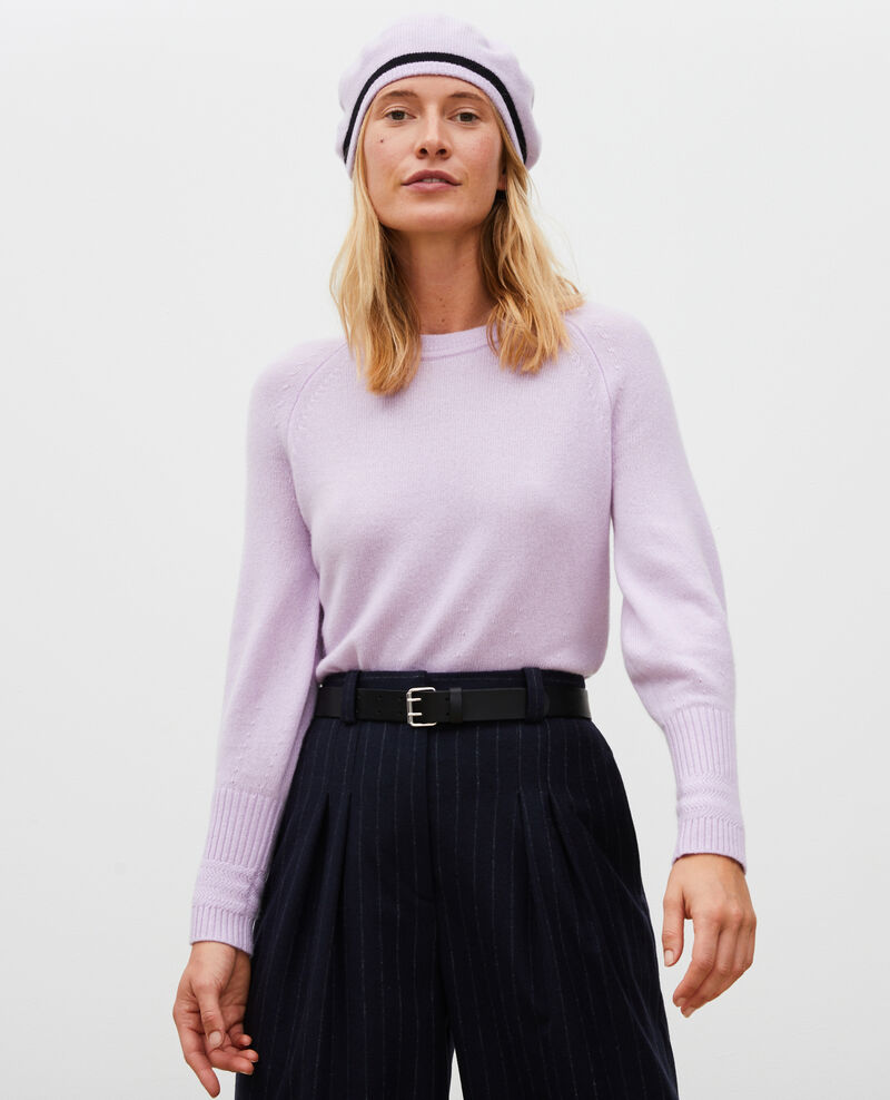 Cashmere jumper with puff sleeves Pastel lilac Migny