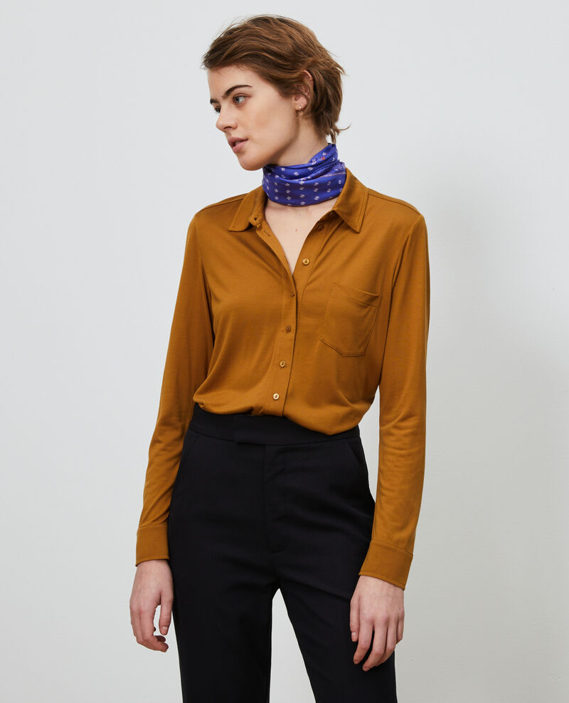 Silk jersey shirt Bronze brown Leanor