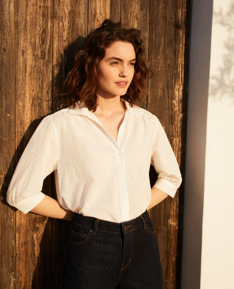 Embroidered cotton shirt Off white Imagination