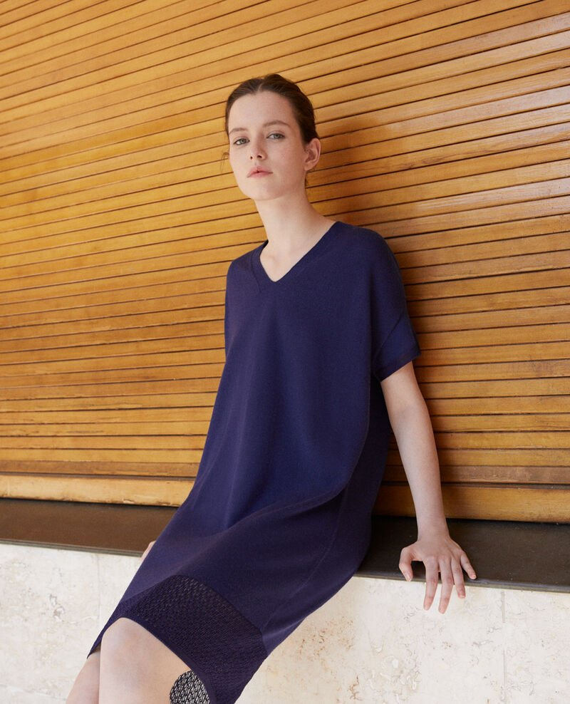 Zero-stitching knitted dress Medieval blue Gedith