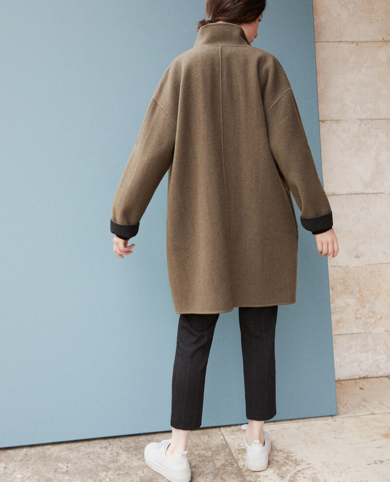 Coat with stand-up collar Olive night Gexpresso