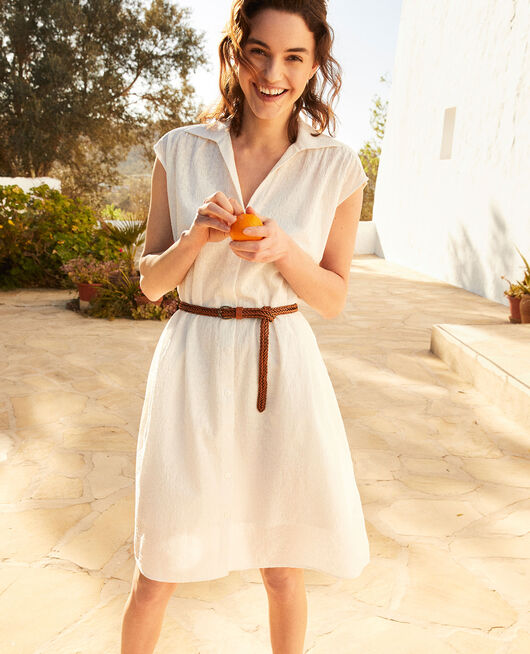 Embroidered cotton shirt dress OFF WHITE