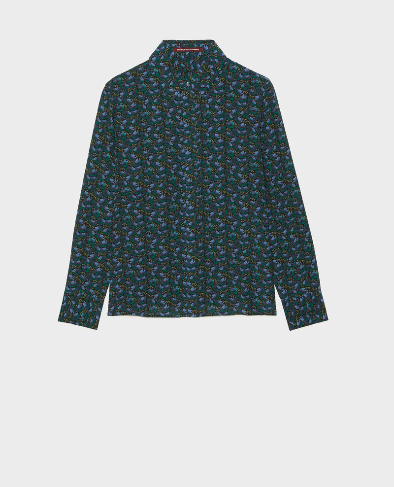 Long-sleeve silk shirt Print artdeco darkgreen Misabethou