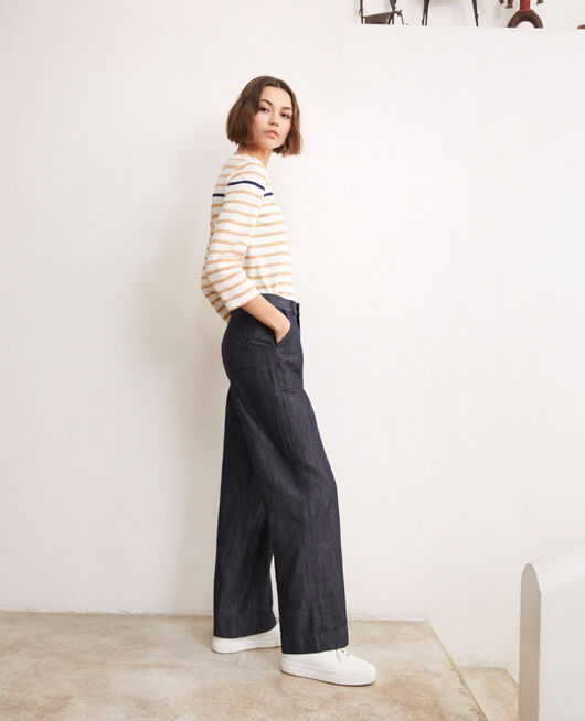 Linen blend trousers INDIGO