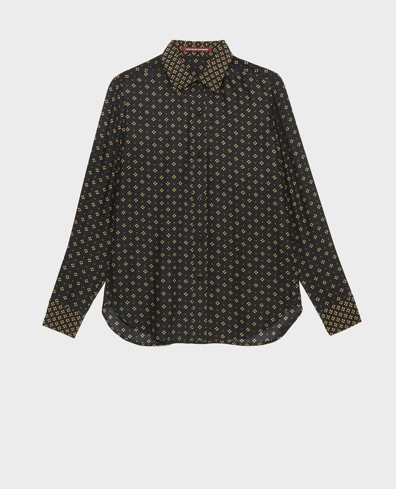 Long-sleeve silk men's shirt Print mosaique black Morigesa