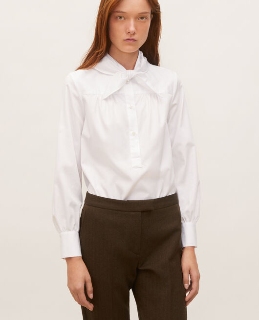 Cotton blouse with removable neck tie BRILLIANT WHITE