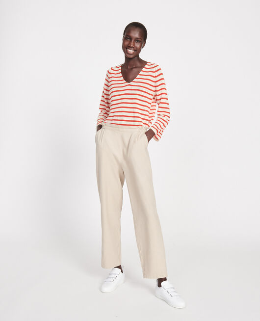 Linen and cotton trousers OXFORD TAN