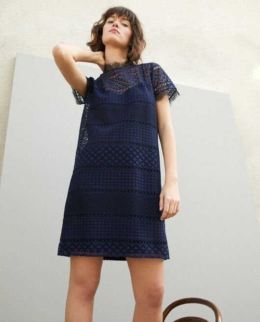 Openwork lace dress Blue