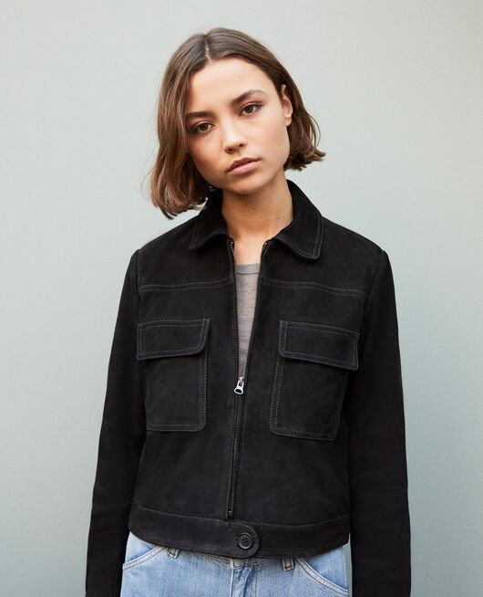 Short suede jacket NOIR