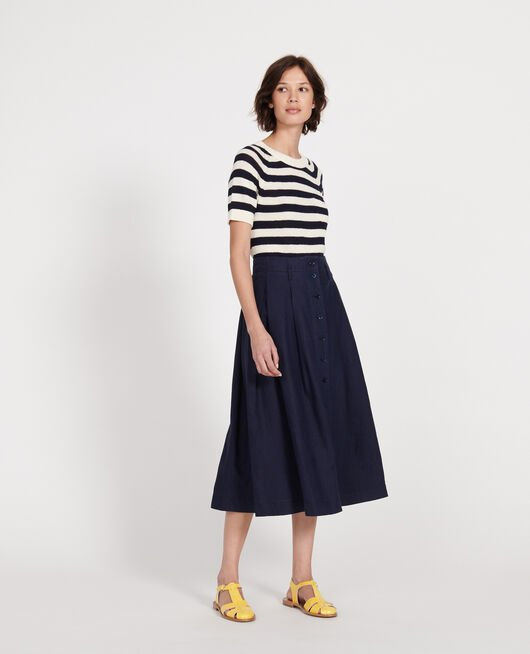 Loose linen skirt MARITIME BLUE