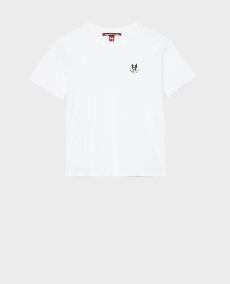 Embroidered cotton t-shirt Optical white Nagano
