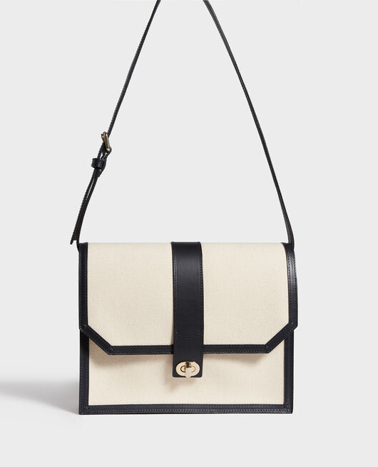 Canvas and leather flap bag GARDENIA MARITIME BLUE