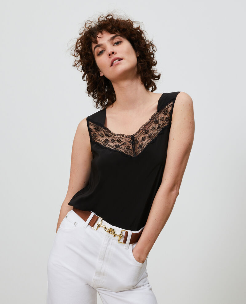 Strappy silk and lace cami Black beauty Lentelle
