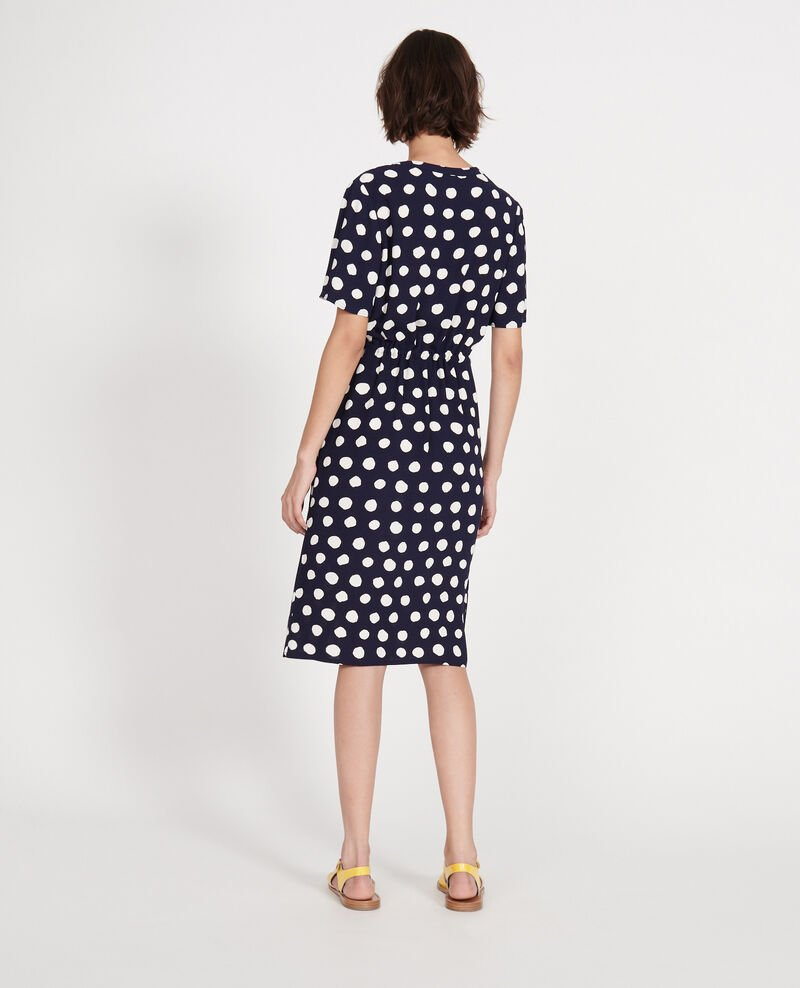 Straight and loose dress Dots maritime blue Legrais