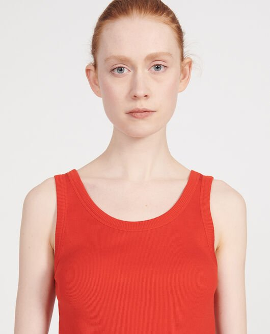 Ribbed jersey vest FIERY RED