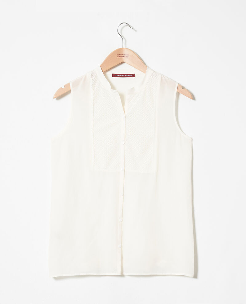Silk blouse with lace shirt front Coconut milk Jandros