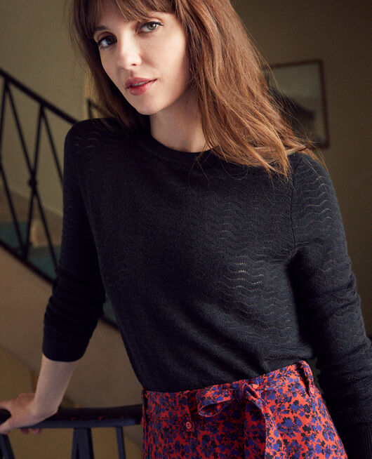 Novelty knit jumper 100% Merino Wool NOIR