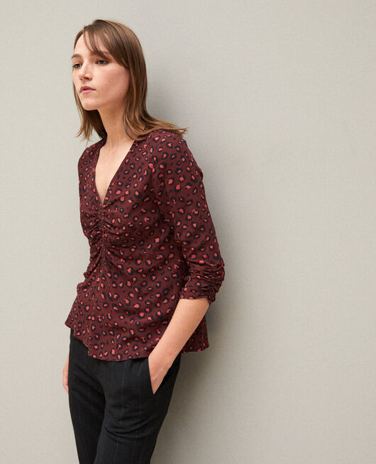 Frilly blouse Brown