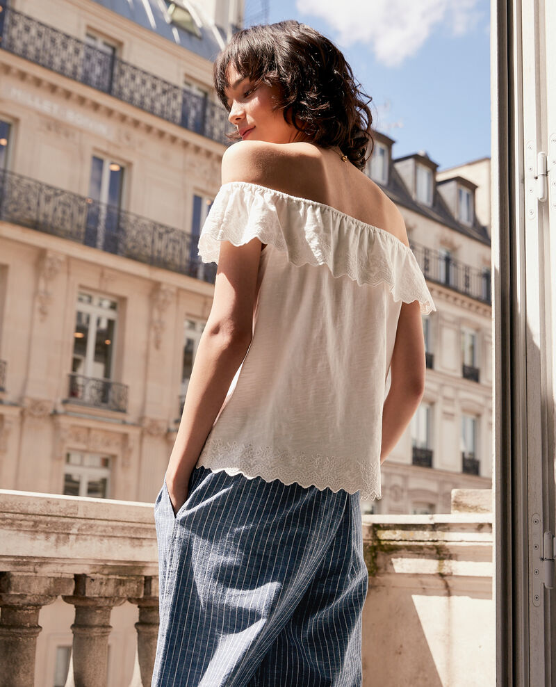 Top with elasticated and embroidered frill Off white Ficaja