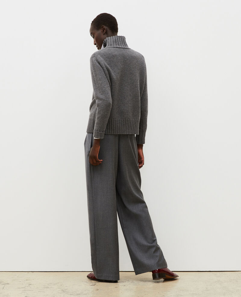 High-waisted wide wool trousers YVONNE Medium grey melange Mafare
