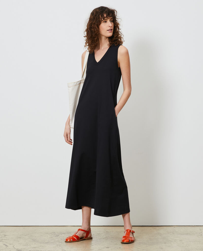 Long cotton V-neck dress Black beauty Larosa