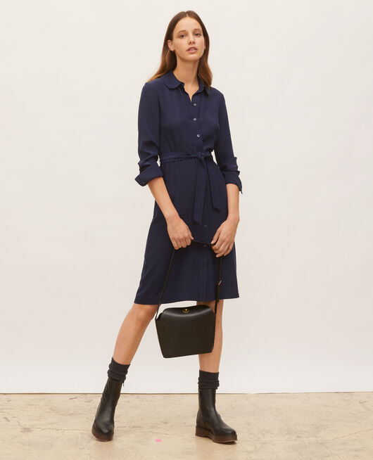 Round neck silk shirt dress with belt MARITIME BLUE