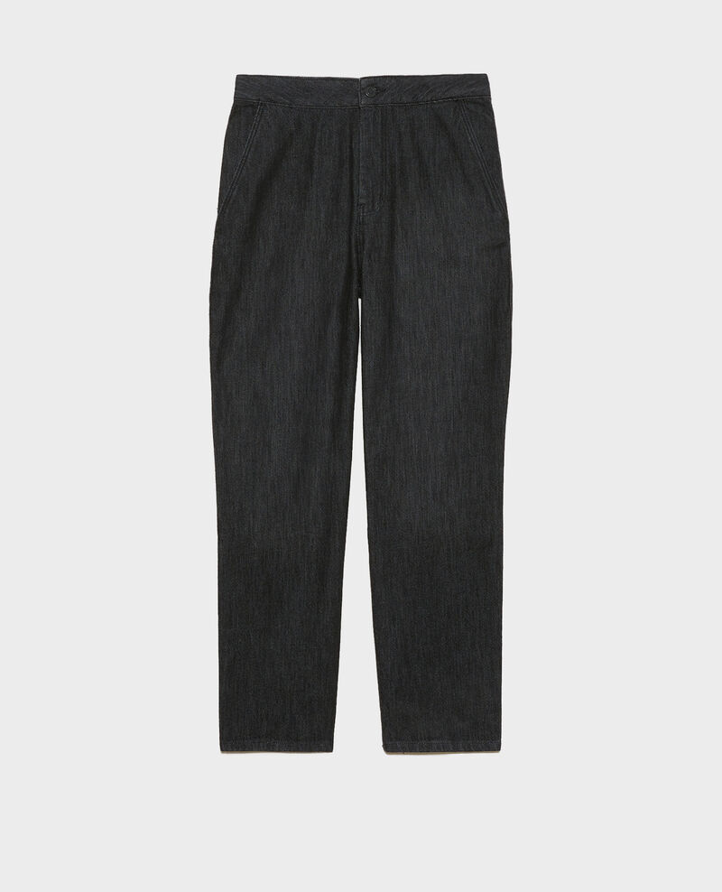 CHINO - High-waisted denim carrot pants Noir denim Mozol
