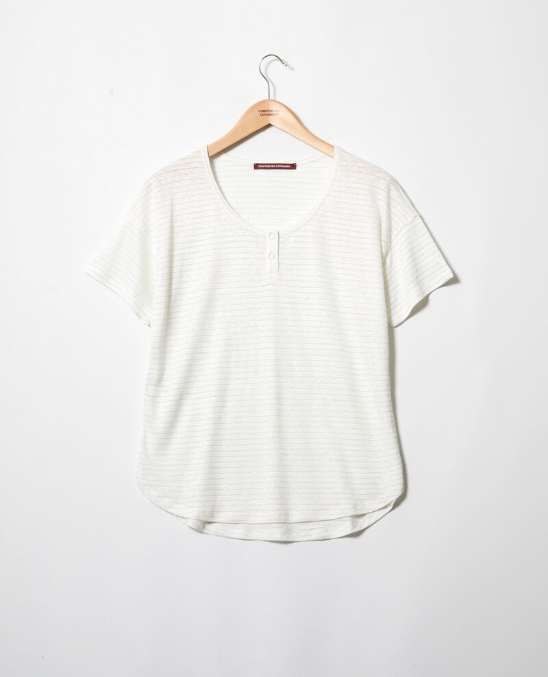 Linen-blend shiny T-shirt Off white Imape