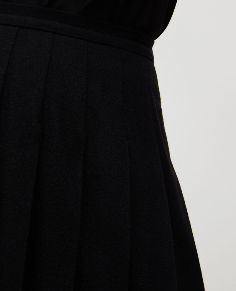 Pleated wool tweed skirt Black beauty Mialos