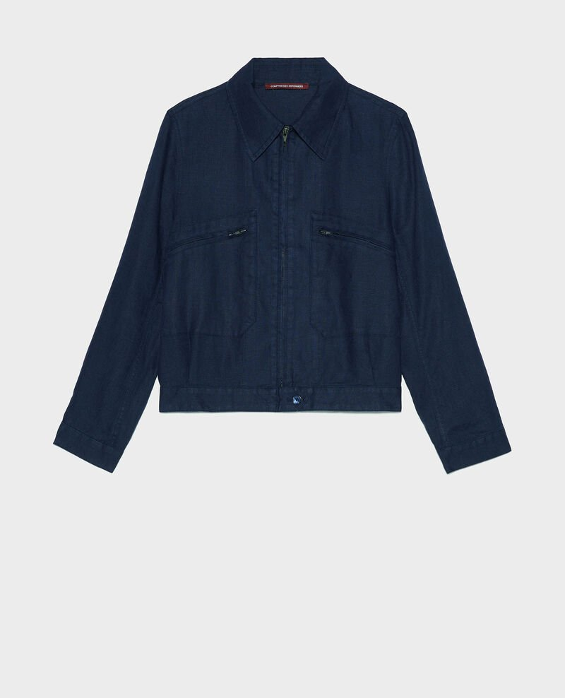 Linen zipped jacket Maritime blue Loubajac