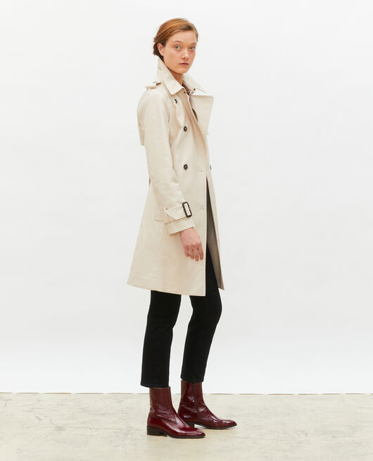 Mid-length cotton belted trench SMOKE GRAY