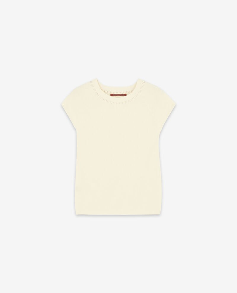 Seamless knitted short sleeve jumper Off white Dalande