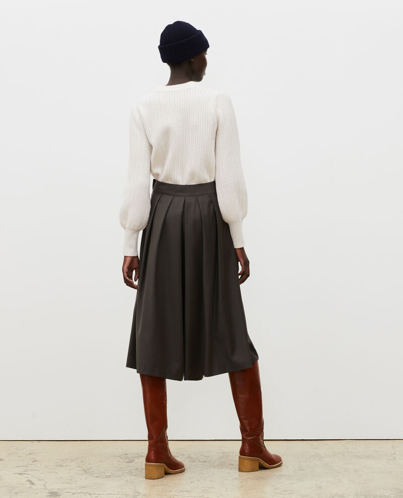 Pleated wool and cashmere culottes Kaki Marby