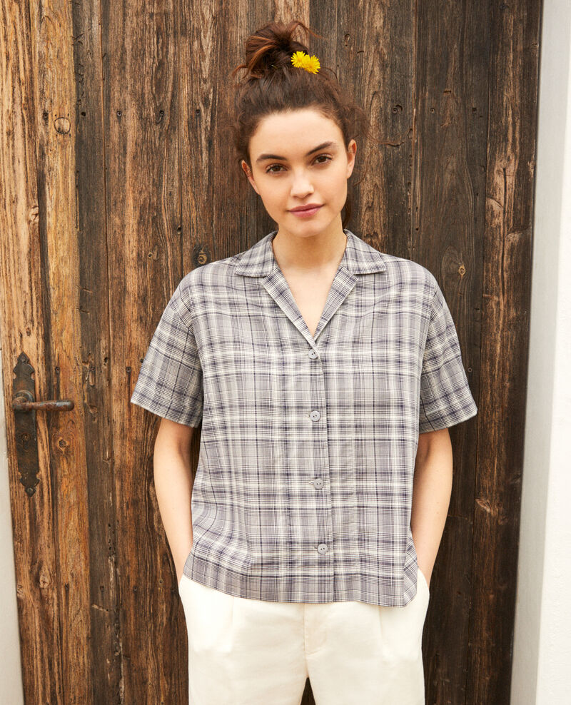 Open collar cotton shirt Off white/navy Itricia