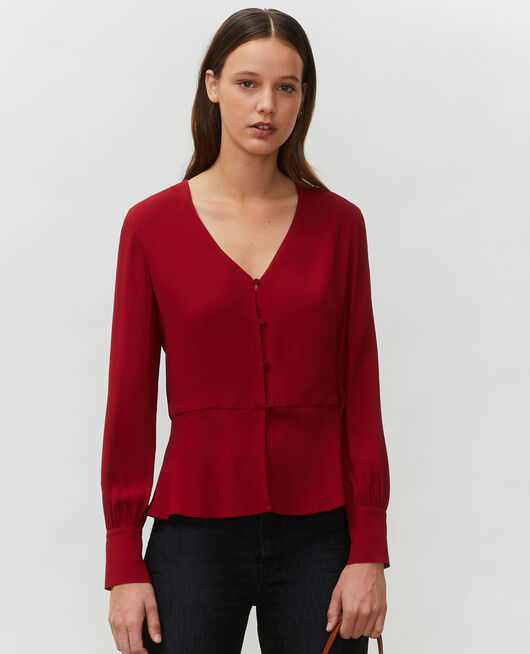 Slim fit V neck blouse  ROYALE RED