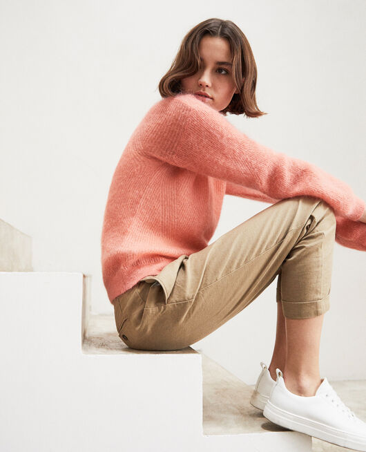 V-neck mohair jumper SALMON PINK