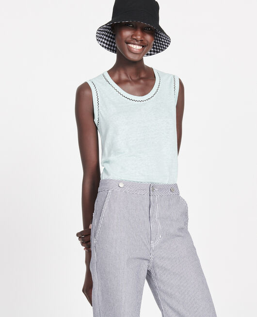 Linen tank top BLUE HAZE