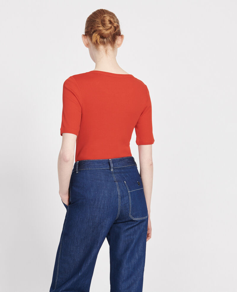 Mercerised cotton T-shirt Fiery red Lasso