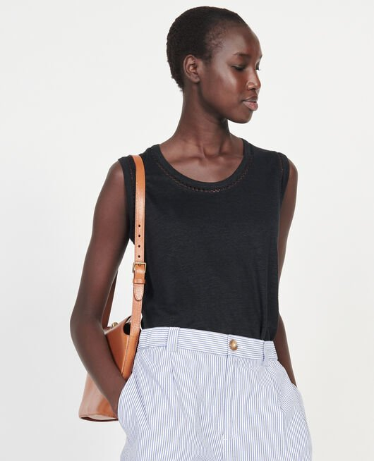 Linen jersey tank top BLACK BEAUTY